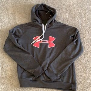 Under Armour grey hoodie pink logo size m